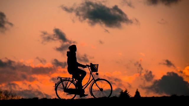 夕日と自転車